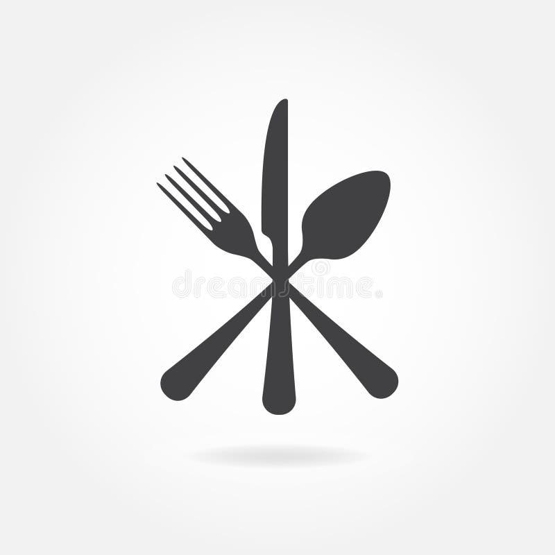 Lepel, vork en messenpictogram Gekruist symbool Vlakke vectorillustratie stock illustratie