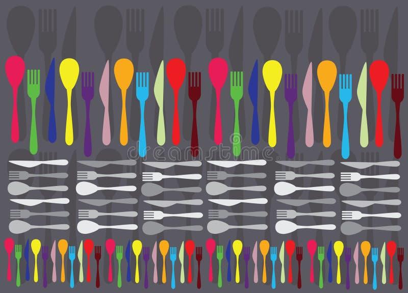Lepels, vorken en knifes vector illustratie