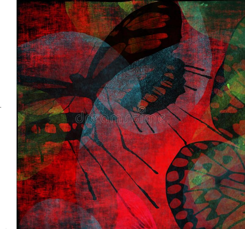 Lepidopterous Grunge Garden vector illustration