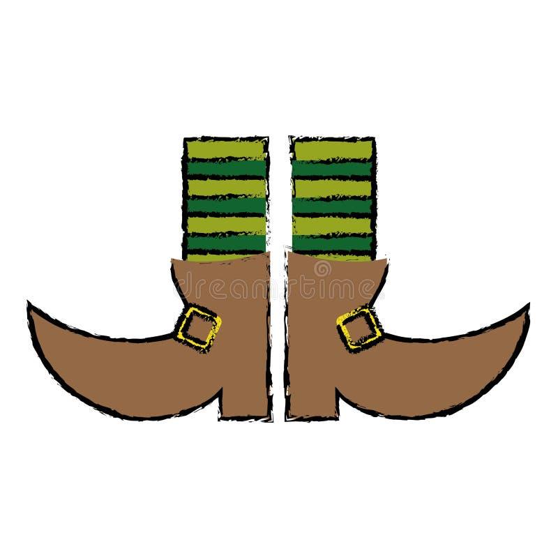 Leprachaun ботинка шаржа stripes день St. Patrick носок иллюстрация вектора
