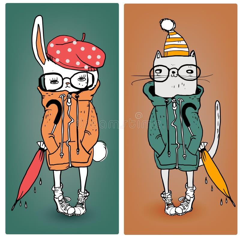 Lepre e gatto in vestiti caldi illustrazione vettoriale