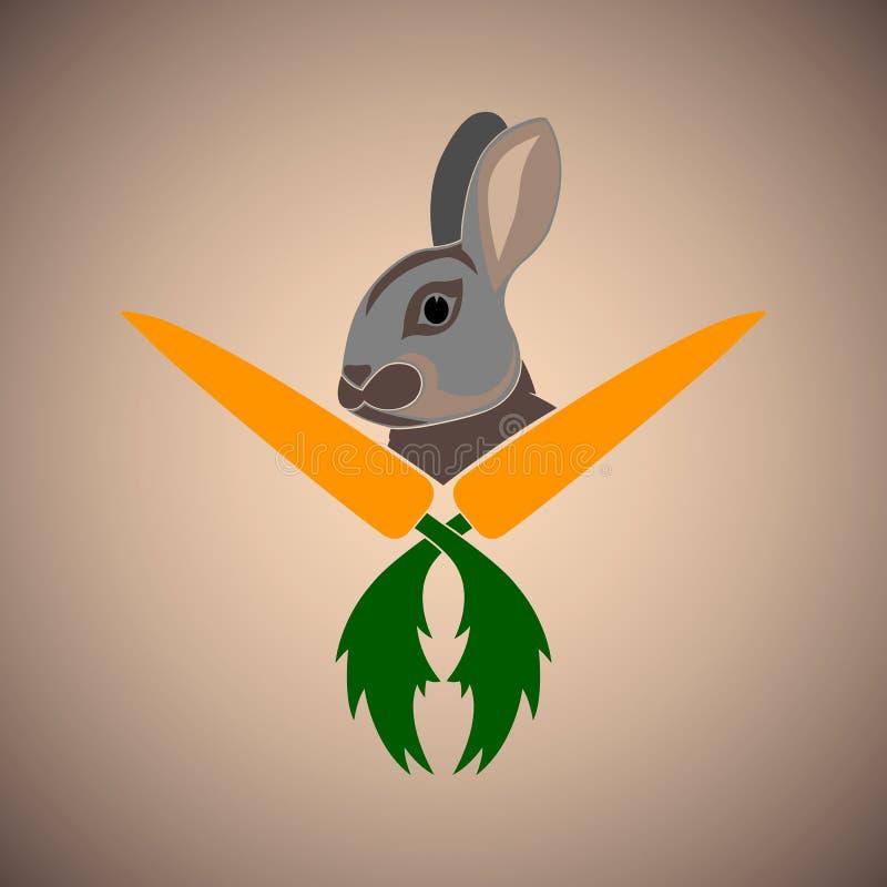 Lepre e logo arancio della carota fotografia stock libera da diritti