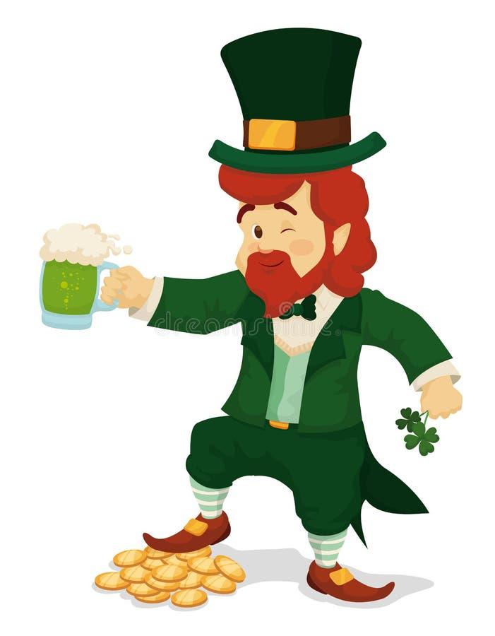 Leprechaun Świętuje St Patrick dzień z Piwnymi i Złocistymi monetami, Wektorowa ilustracja royalty ilustracja