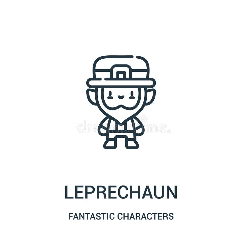 leprechaun διάνυσμα εικονιδίων από τη φανταστική συλλογή χαρακτήρων Η λεπτή γραμμή leprechaun περιγράφει τη διανυσματική απεικόνι ελεύθερη απεικόνιση δικαιώματος