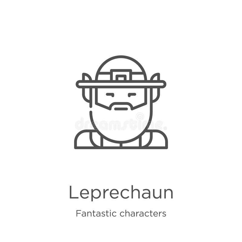 leprechaun διάνυσμα εικονιδίων από τη φανταστική συλλογή χαρακτήρων Η λεπτή γραμμή leprechaun περιγράφει τη διανυσματική απεικόνι διανυσματική απεικόνιση
