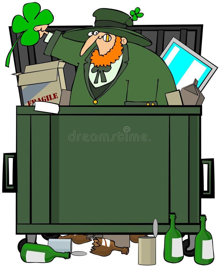 leprechaun мусорного контейнера водолаза иллюстрация вектора