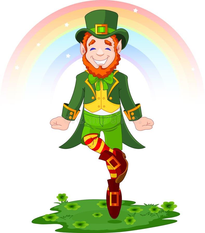 Leprechaun afortunado del baile del día del St. Patrick ilustración del vector