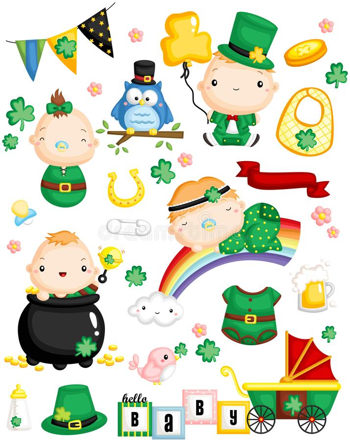 Leprechaun Baby Vector Set royalty free illustration