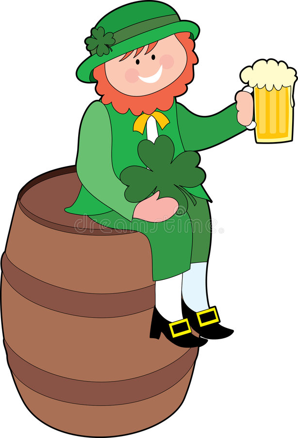 Leprechaun on a Beer Keg. Leprechaun sitting on a beer keg with a beer vector illustration