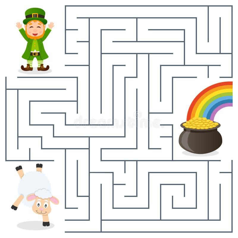 Leprechaun, cakiel, garnka Złocisty labirynt dla dzieciaków ilustracja wektor