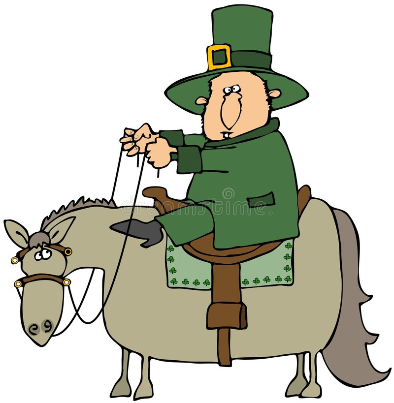 Leprechaun che monta un cavallo royalty illustrazione gratis
