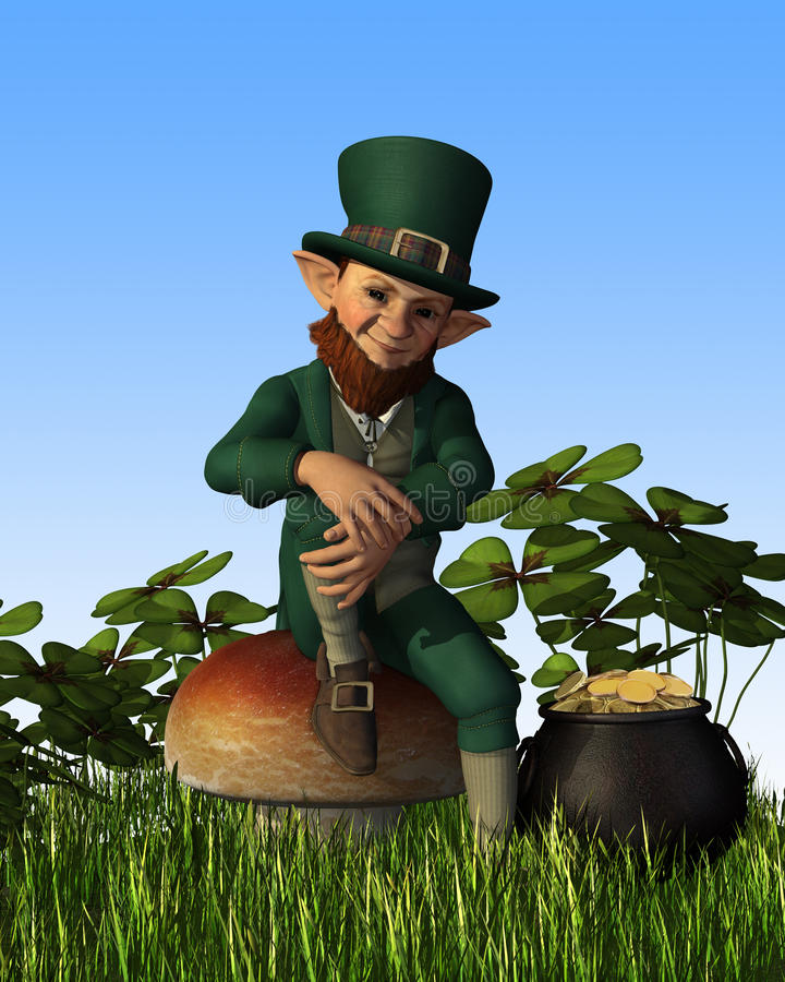 Leprechaun che si siede sul Toadstool illustrazione di stock
