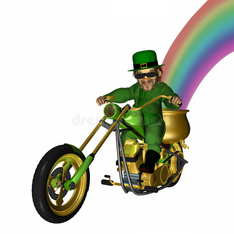 Leprechaun Chopper 1. Leprechaun looking cool with a bit of an attitude on his green and gold plated chopper. Pot of gold and rainbow on board. Isolated on a stock photo