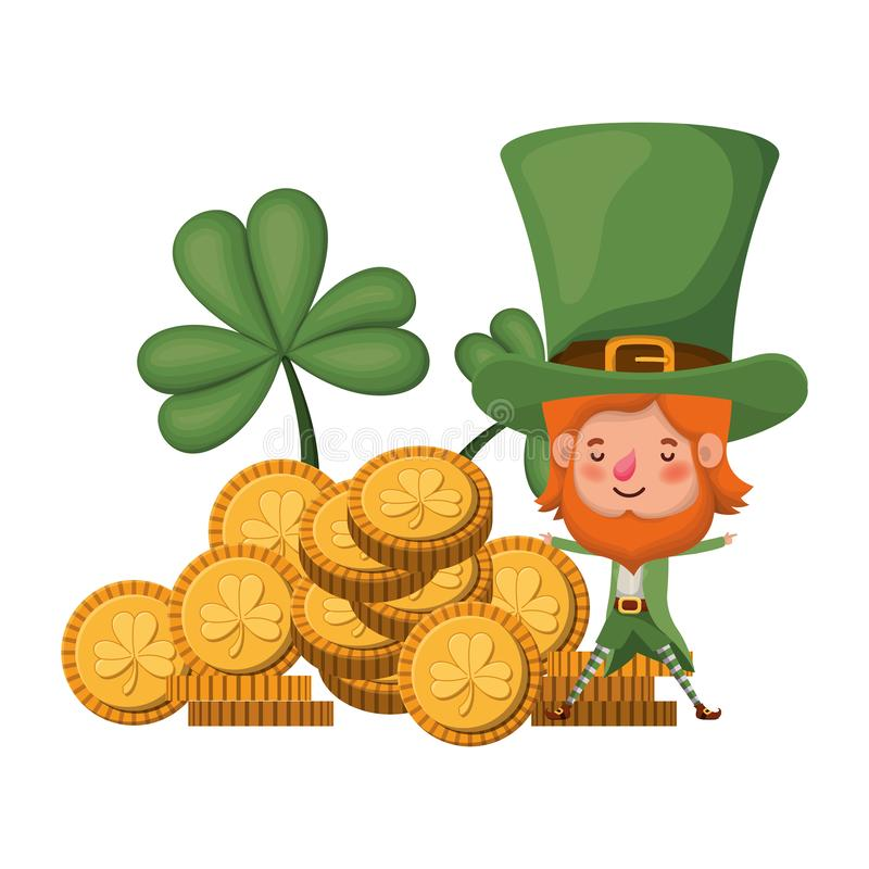 Leprechaun with coin and clover isolated icon. Vector illustration desing vector illustration