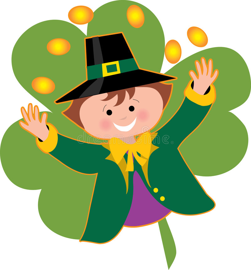 Leprechaun and Coins. Leprechaun tossing coins over his head on a shamrock background stock illustration