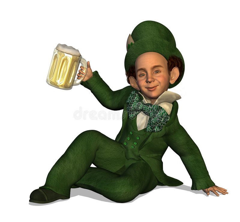 Download Leprechaun con birra illustrazione di stock. Illustrazione di alcool - 7316350
