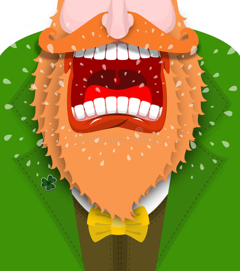 Leprechaun Cry Illustration For St. Patricks Day. Scary Gnome Re ...