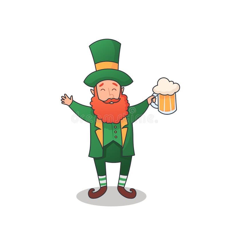 Leprechaun del profilo di vettore con il vetro di birra isolato su fondo bianco Carattere leggiadramente di mitologia in cappello illustrazione di stock