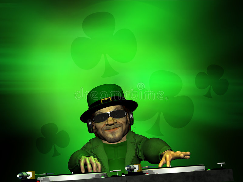 Leprechaun DJ 1. Leprechaun DJ wearing headphones and operating two turntables. Green clover background royalty free illustration