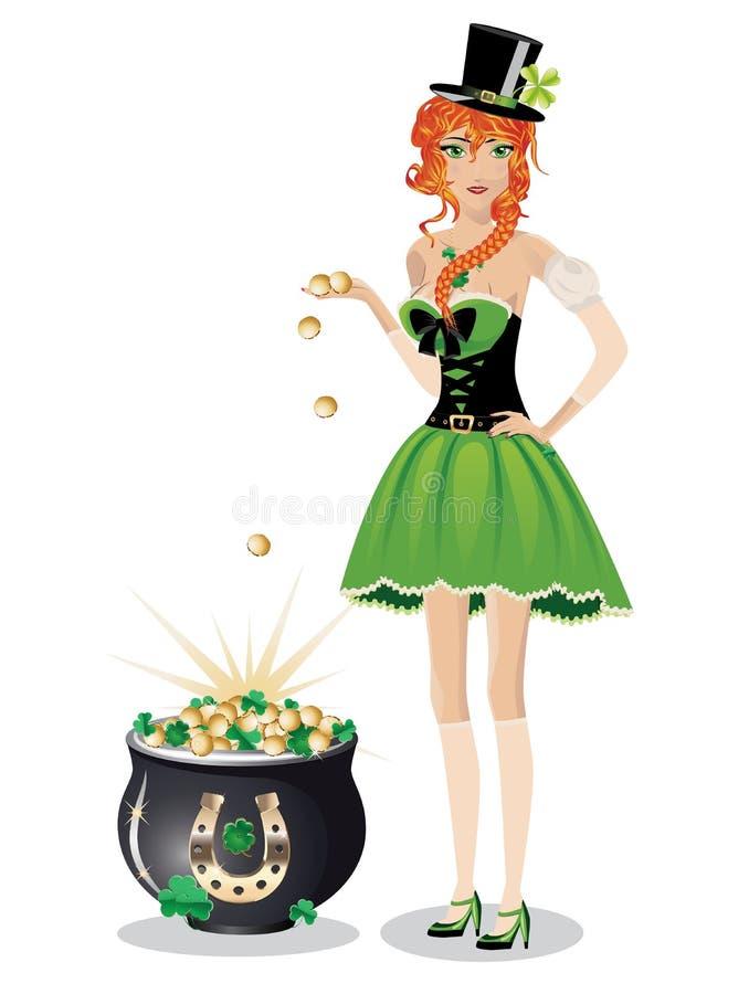 Leprechaun dziewczyna z garnkiem złoto royalty ilustracja