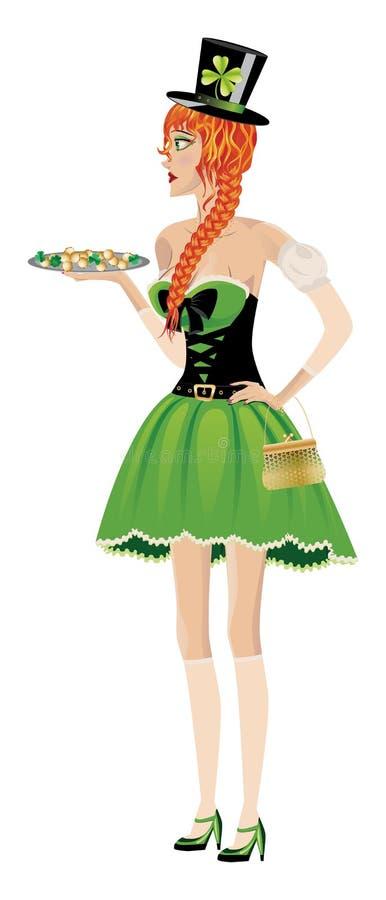 Leprechaun dziewczyna z złocistymi monetami ilustracja wektor