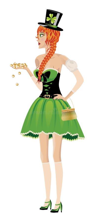 Leprechaun dziewczyna z złocistymi monetami ilustracji