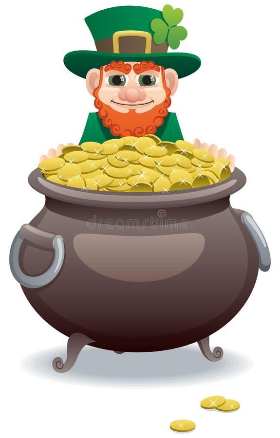 Leprechaun e potenciômetro de ouro ilustração stock