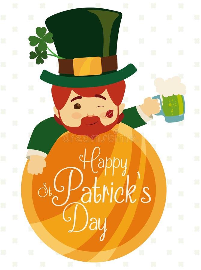 Leprechaun elf Świętuje St Patrick dzień z piwem, Wektorowa ilustracja ilustracja wektor