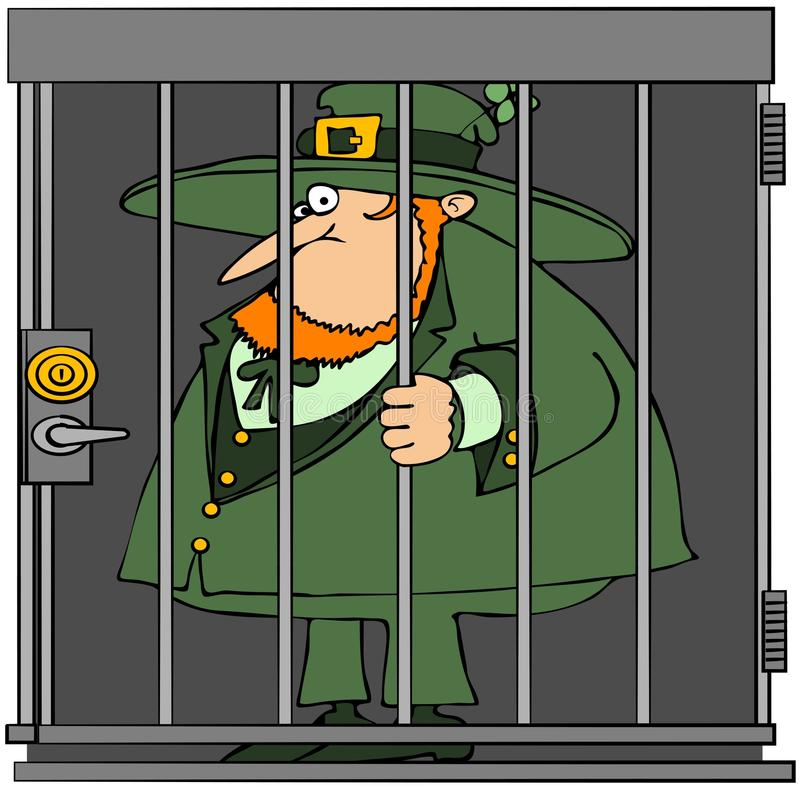Leprechaun en cárcel ilustración del vector
