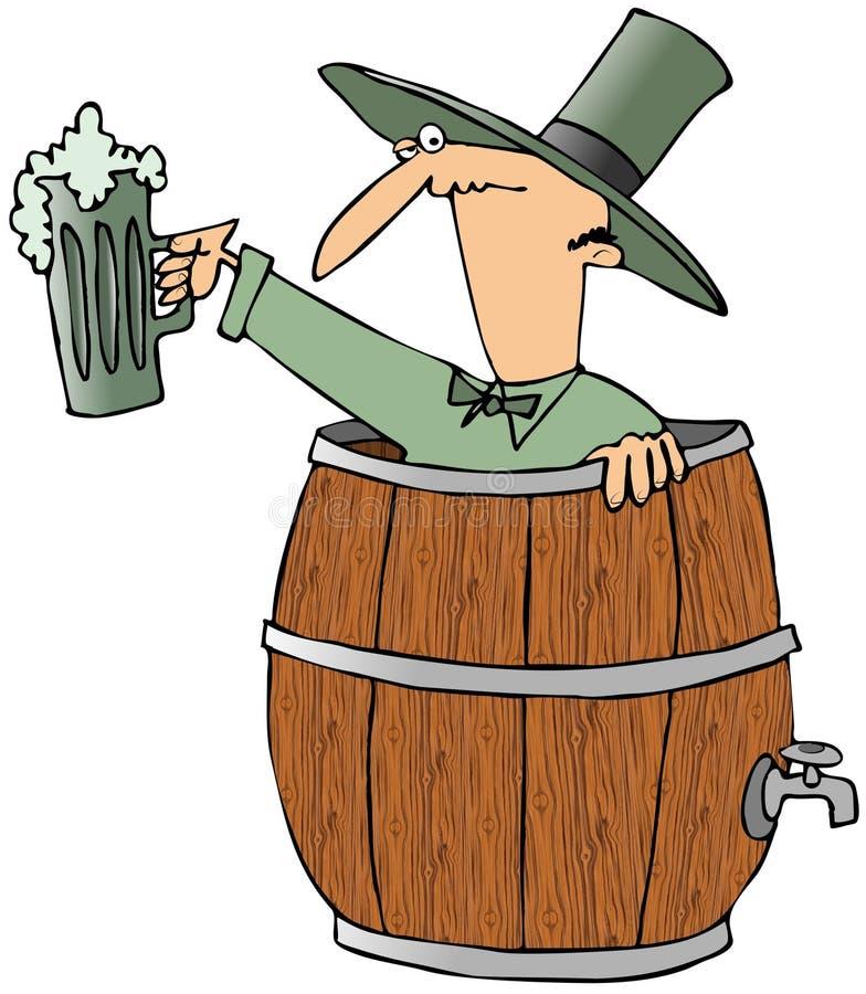 Leprechaun en un barril de cerveza stock de ilustración