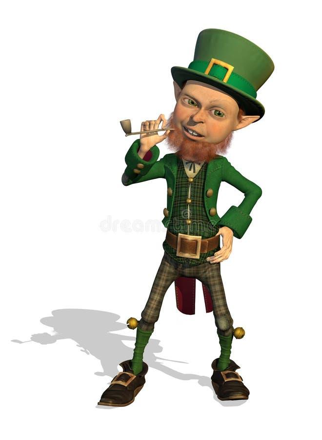 Leprechaun Enjoys His Pipe Royalty Free Stock Image