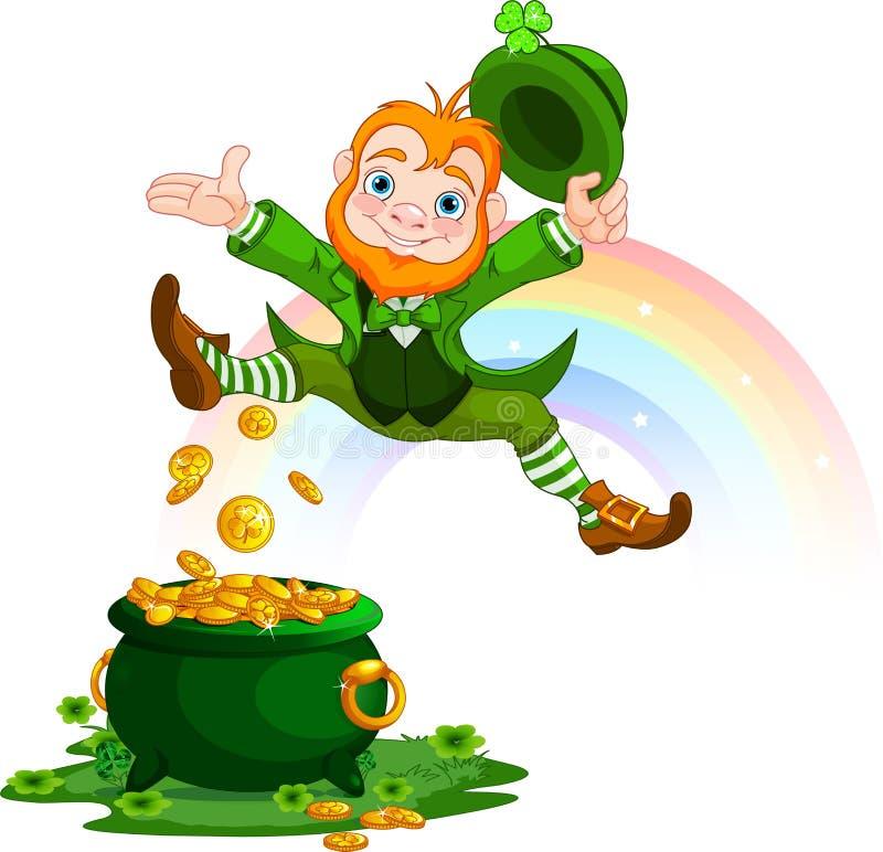 Leprechaun feliz ilustración del vector