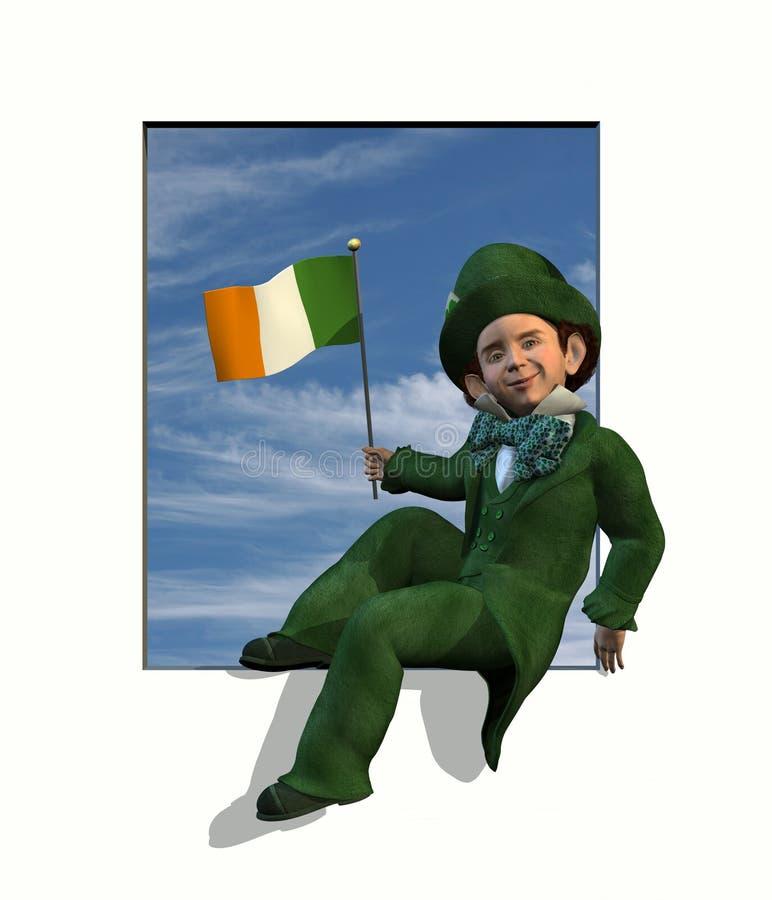 Leprechaun in finestra con la bandierina irlandese royalty illustrazione gratis