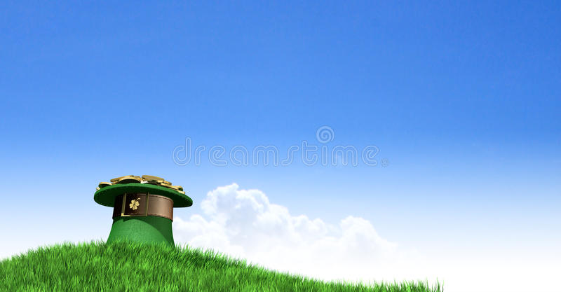 Leprechaun Hat With Gold On A Grassy Hill. A green leprechaun hat with a brown belt emblazened with a gold shamrock and overflowing with gold pieces on a green royalty free stock photos
