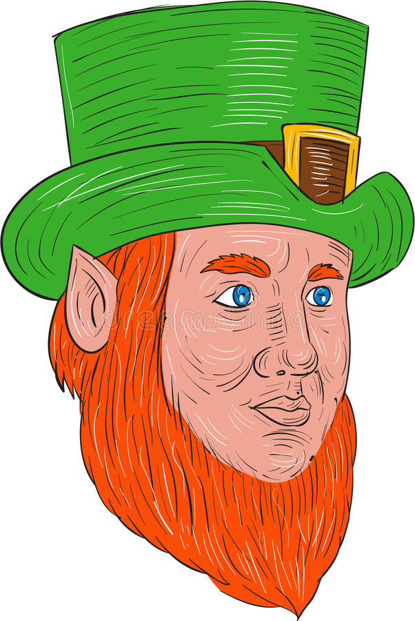 Leprechaun Head Three Quarter View Drawing. Drawing sketch style illustration of a leprechaun head looking to the side in a three quarter view set on isolated vector illustration