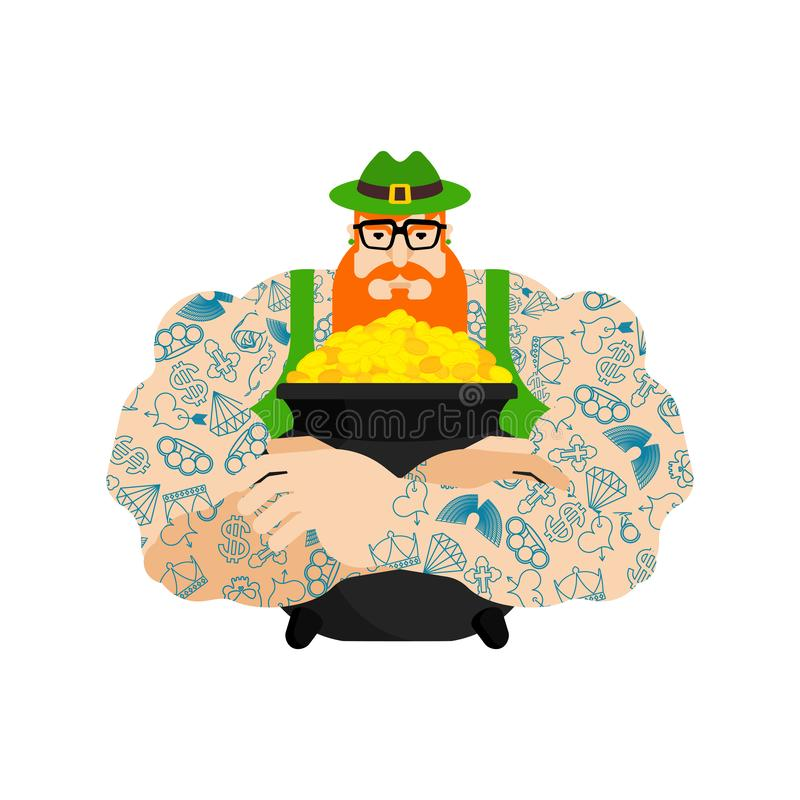 Leprechaun hipster and pot of gold. St.Patricks Day. Irish traditional holiday. Folk Cultural Festival in Ireland vector illustration