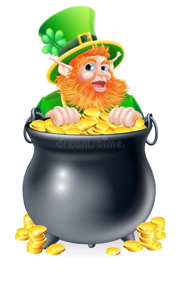 Leprechaun i garnek złoto ilustracji