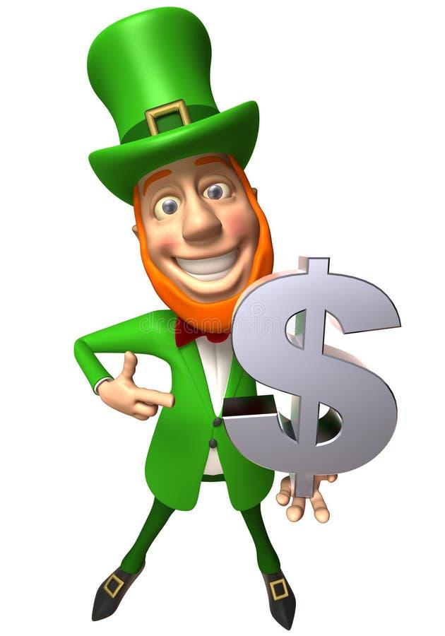 Leprechaun irlandês com dinheiro ilustração do vetor