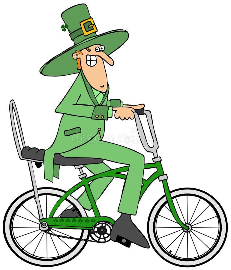 Leprechaun jedzie bicykl royalty ilustracja