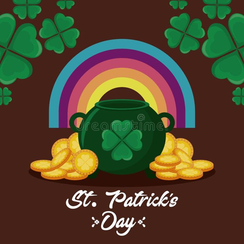 Leprechaun kocioł z tęczą i monetami st Patrick dzień ilustracji