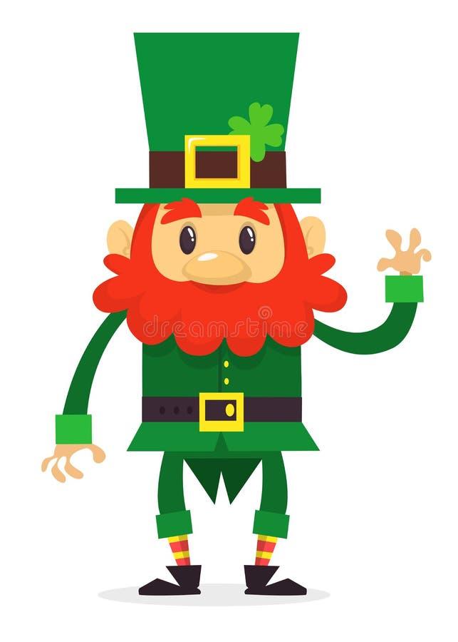 Leprechaun kreskówki falowania zrozumienie Wektorowa płaska ilustracja dla St Patrick dnia ilustracji