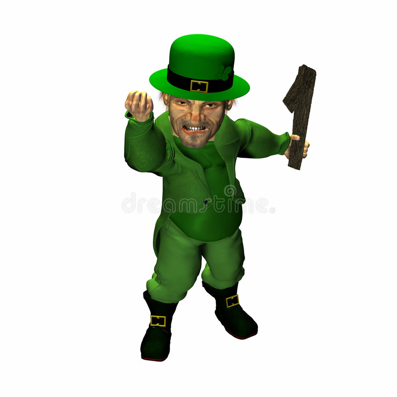 Leprechaun - Looking for a Fight? stock illustration