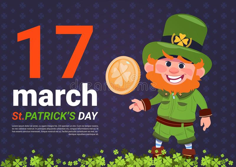 Leprechaun Man Holding Golden Coin St. Patricks Day Card Background stock illustration