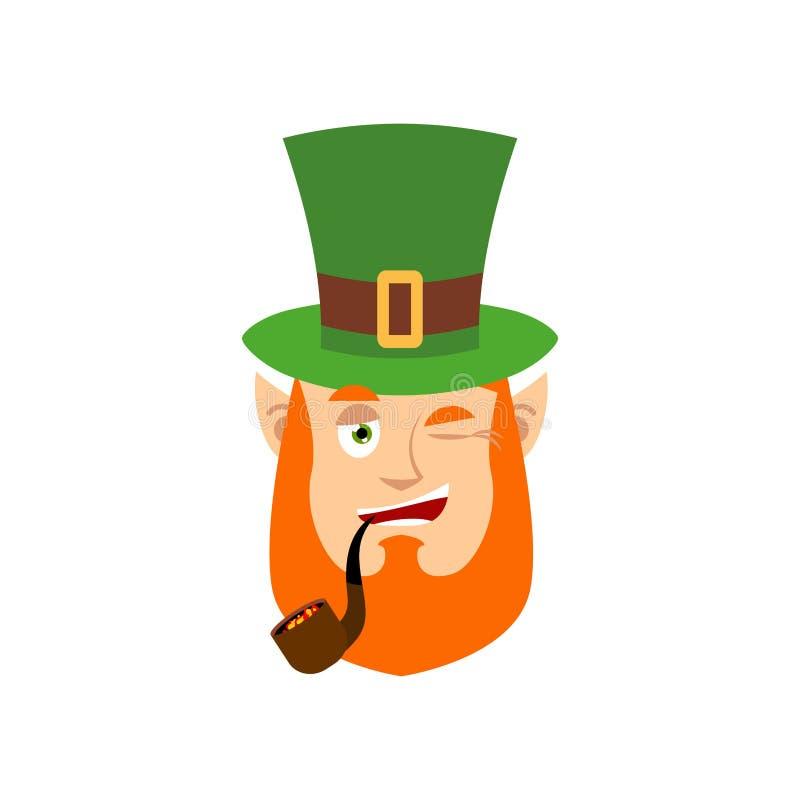 Leprechaun mrugnięcia Karzeł z czerwoną brodą szczęśliwy Emoji Irlandzki elfa em royalty ilustracja