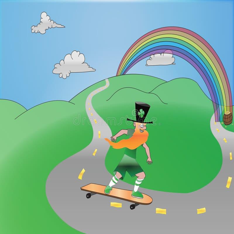 Leprechaun na deskorolka royalty ilustracja