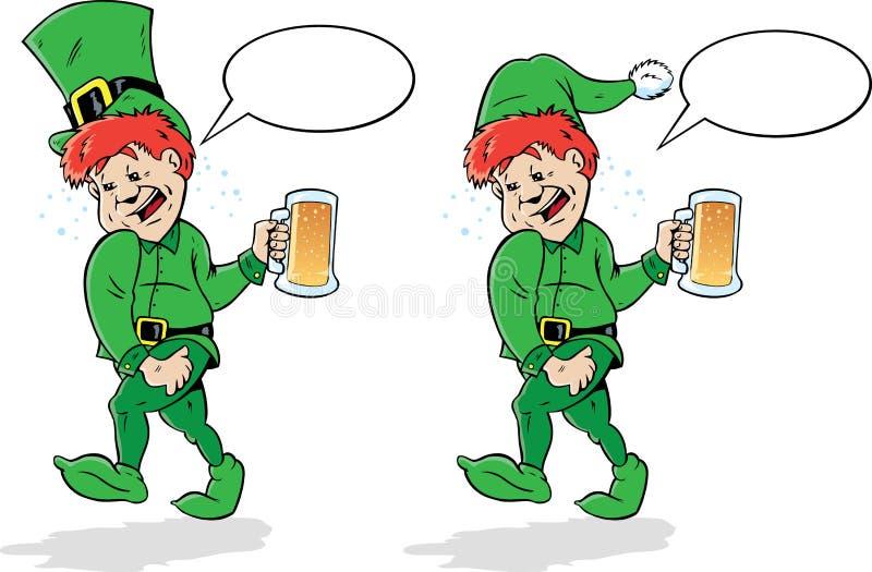 Leprechaun o duende borracho. stock de ilustración