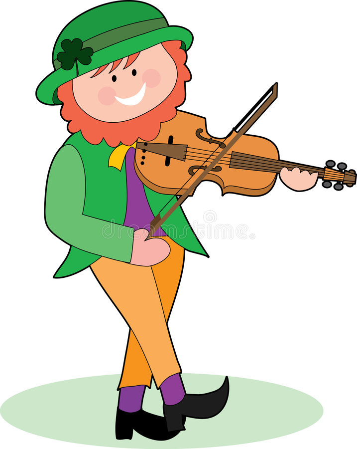 Leprechaun Playing a Violin. An Irish Leprechaun playing a violin and dancing royalty free illustration