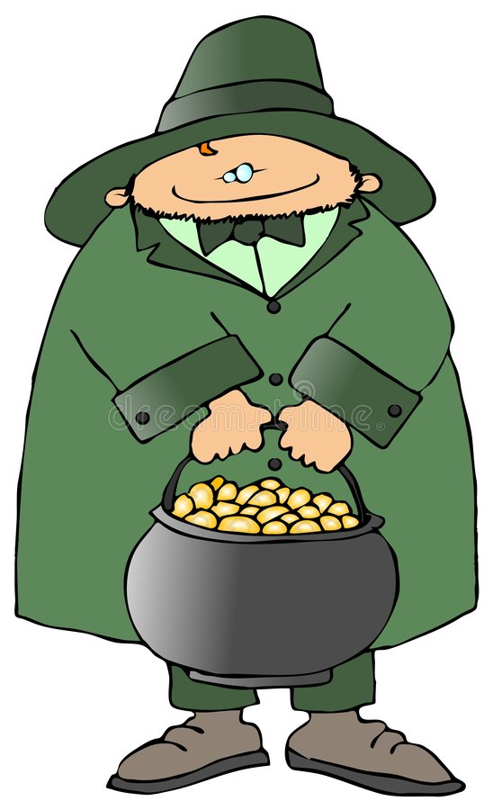 Leprechaun With A Pot Of Gold vector illustration