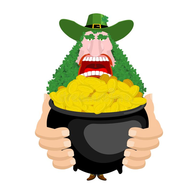 Leprechaun and Pot of gold. beard in Shamrock face. Clover mustache. Ireland holiday. St. Patrick`s Day. Traditional Irish holida royalty free illustration