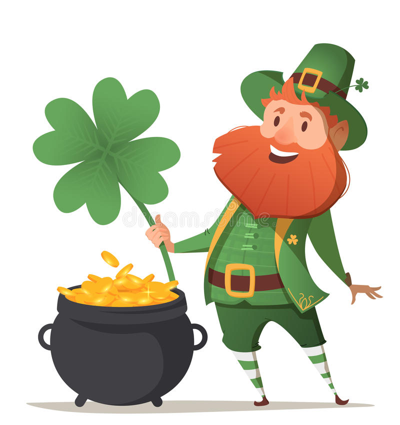 Leprechaun with a pot of gold and four leaf clover stock illustration